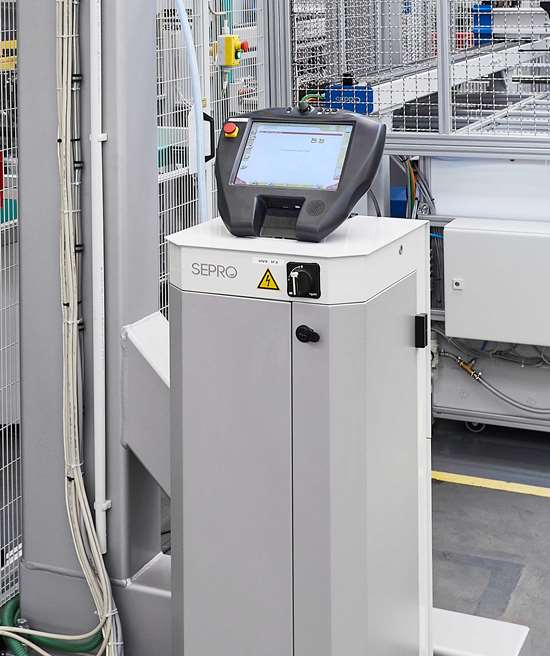 Sepro's Visual 3 controls all robots and peripheral equipment, synchronizing with the molding machines.