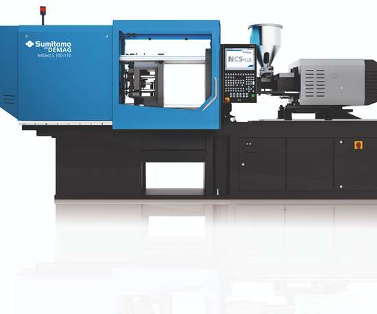 Sumitomo Demag IntElect S 100-ton injection molding press.
