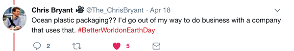 Earth day twitter chat response