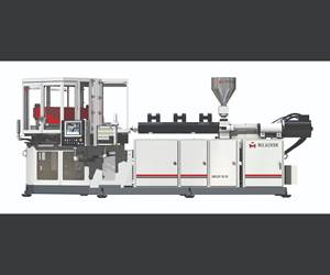 Milacron's Uniloy IBS 85 injection-blow molder co-injects barrier bottles