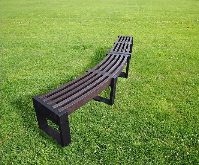 Bench made from 100% recycled plastic