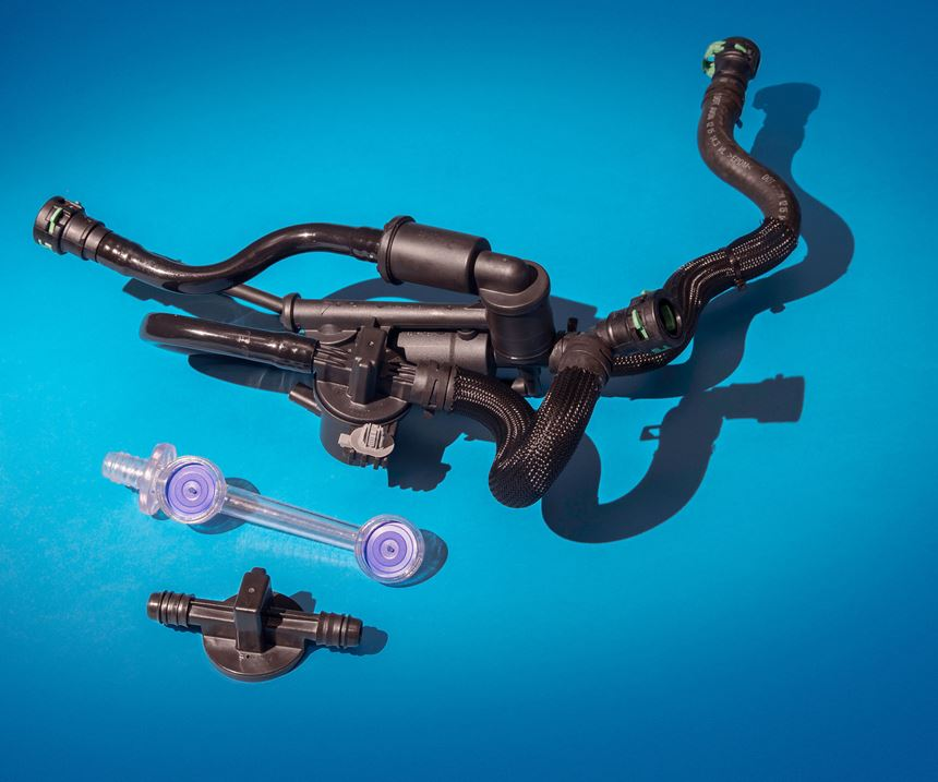 The 2017 Ford F-150's open/close valve actuation system--made of polyacetal+PTFE and nylon 6--won the powertrain category and was the grand award winner.