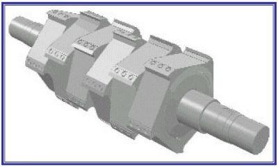 Cumberland 30-knife hog rotor granulator rotor design