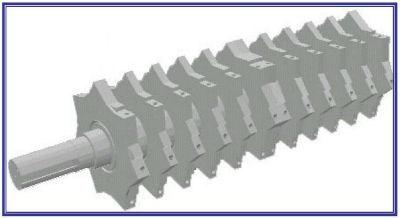 Cumberland 7-knife granulator rotor design