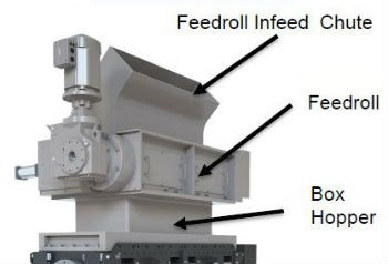 Cumberland Infeed chute, feedroll, and box hopper on a granulator
