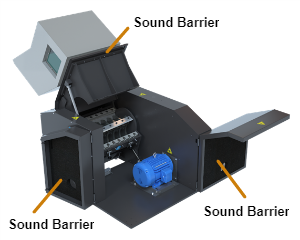 Opened Cumberland Granulator diagrams sound barriers