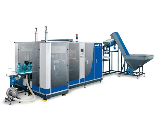 New APF-5 reheat stretch-blow molder from PET Technologies.