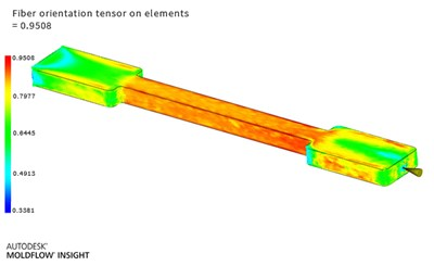 Fiber oriention tensor on elements, simulated with Autodesk Moldflow Insight