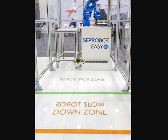 Seprobot is Sepro's collaborative system using a laser scanner or other sensor to permit safe human access to the robot operating zone.