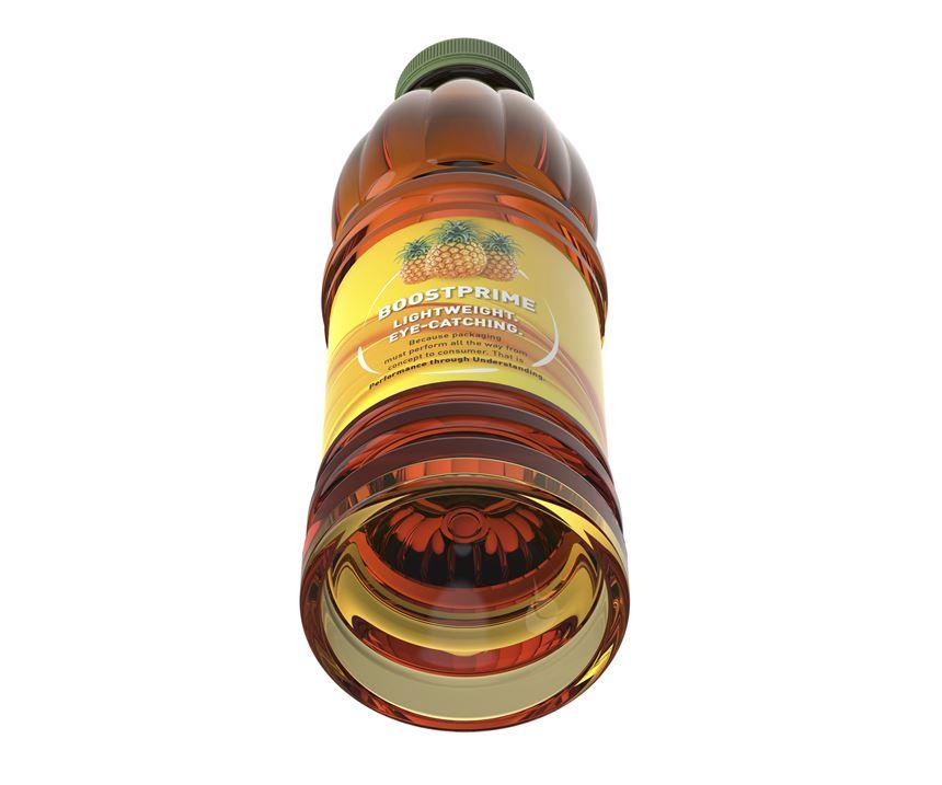 Sidel BoostPrime PET bottle uses base inversion to resist vacuum on cooling after hot-filling.