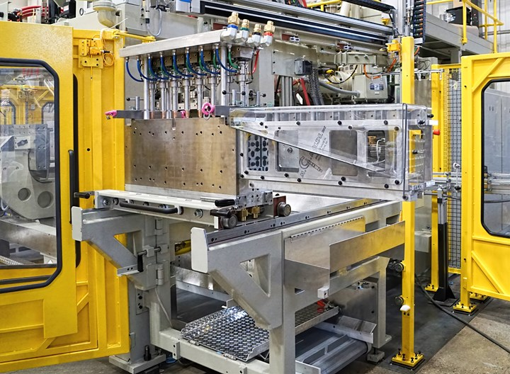 Bekum's new Concept 808 shuttle machine debuted with optional magnetic quick mold clamping