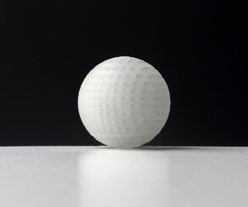 Thishollow LSR sphere was produced using the new ACEO Imagine Series K2 printer from Wacker.