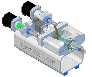 LSR version of Md Plastics' Inject-EX injection unit, powered by two servo drives.