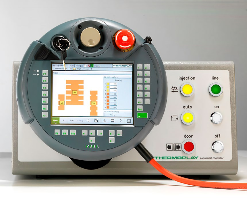 Touchscreen pendant for new valve-gate sequencing control from Thermoplay.