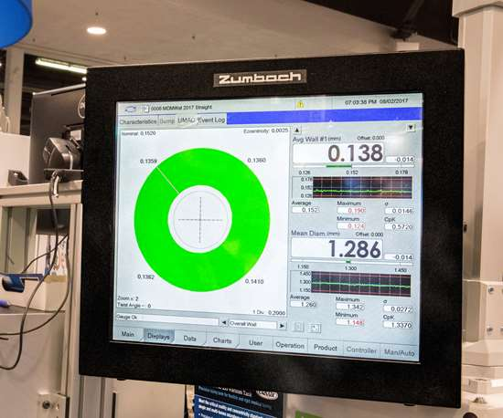 Wall-thickness readings from the gauge are displayed on control panel in real-time. Photo: Zumbach Electronics
