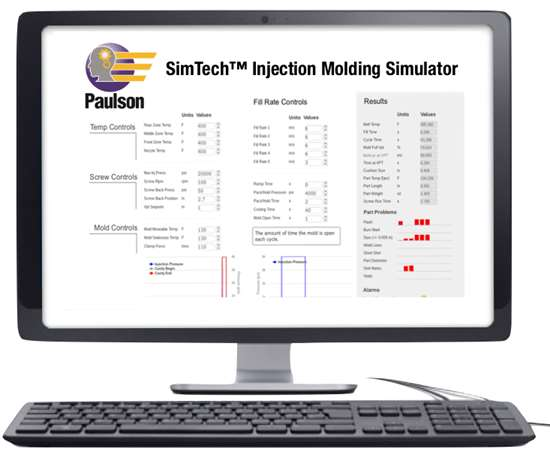 Paulson's SimTech online tool simulates an injection machine's control panel as well as the results of your machine setup for a given part.