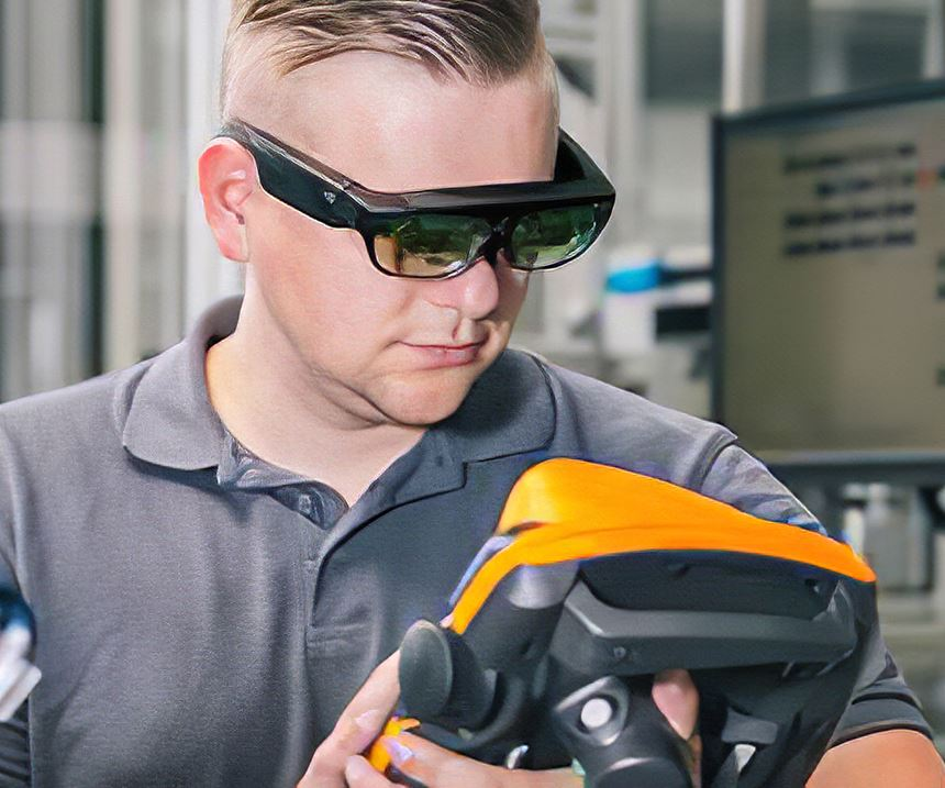 """Augmented-reality glasses, such as these offered by the Hahn Group through its """"EVE smart service"""" system, are a game changer in assisting customers with immediate service support."""