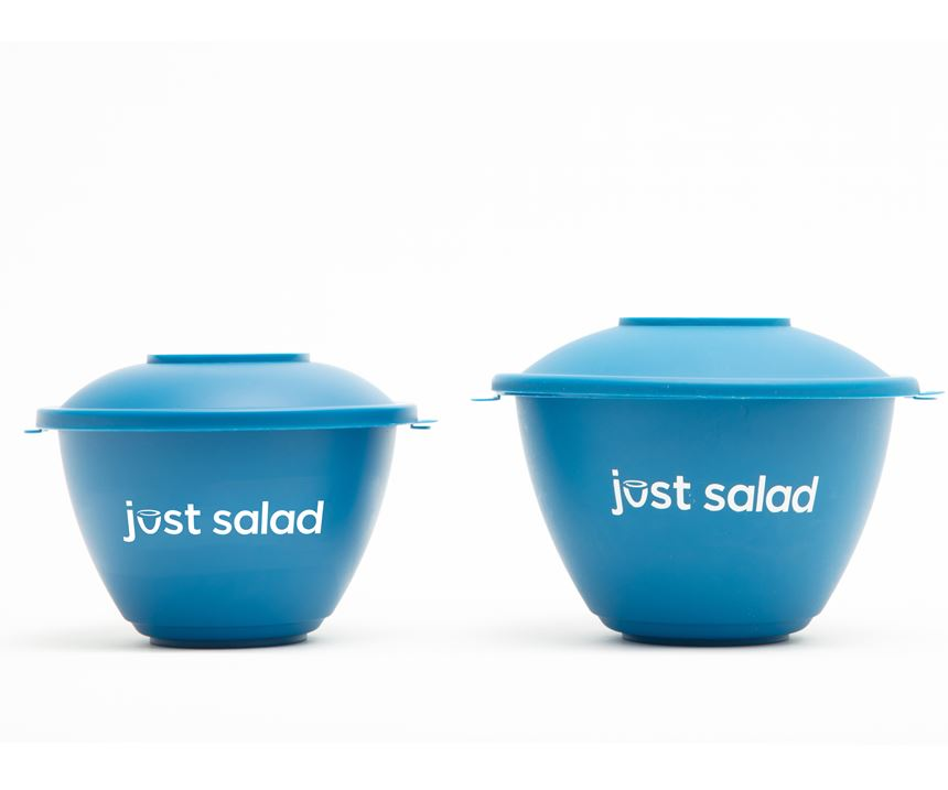 Just Salad aims to save 100,000 lb of plastic this year with its returnable PP salad bowls.