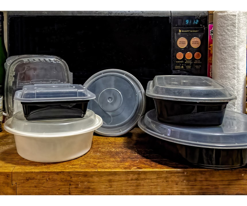 """Reusable PET and PP bowls and trays saved from deli packaging and restaurant take-out. Too good for """"single use""""!"""