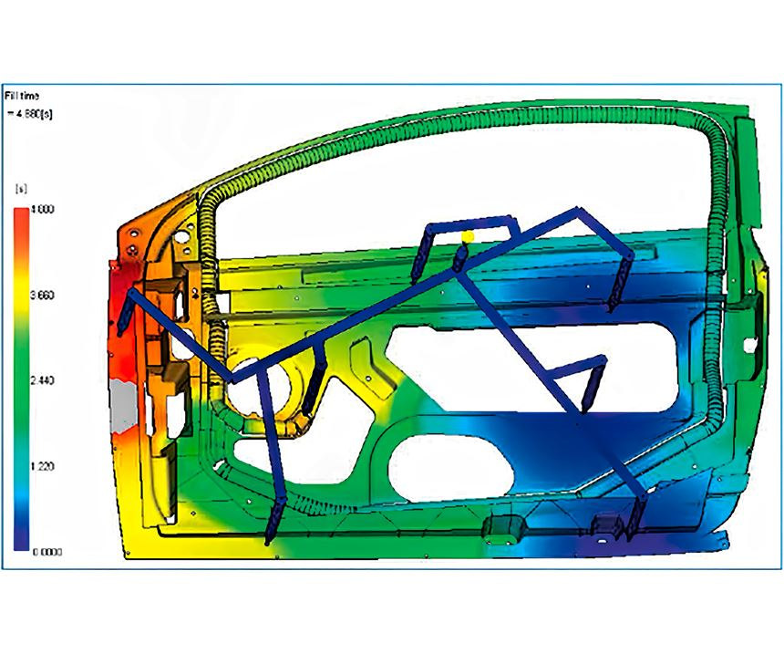 This flow simulation was completed before the switch from gas assist to water injection. Some filling problems with gas are evident at the left side of the part.