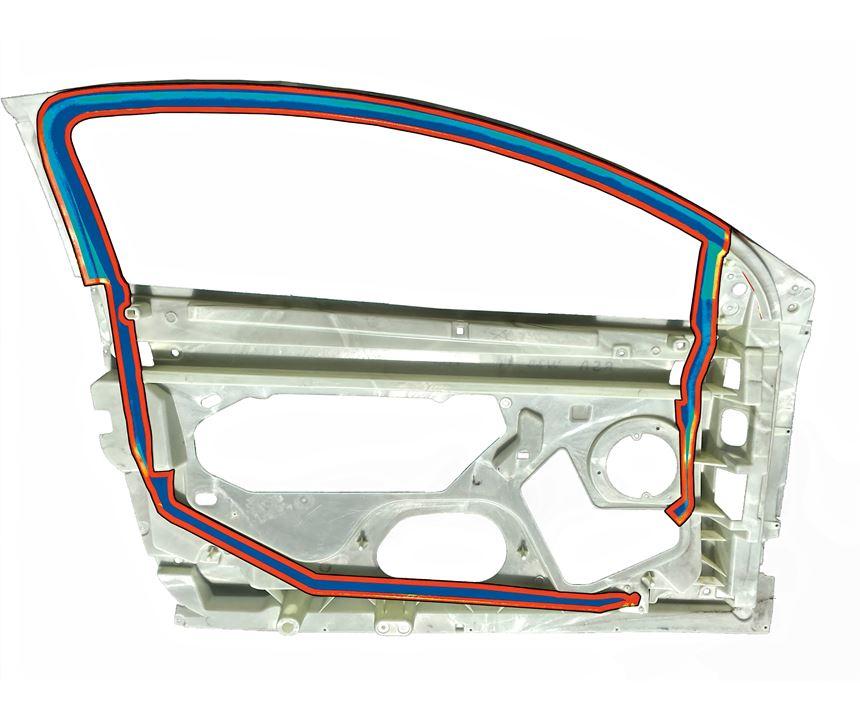 Door frame after water injection forces melt back into the hot-runner valve gate.