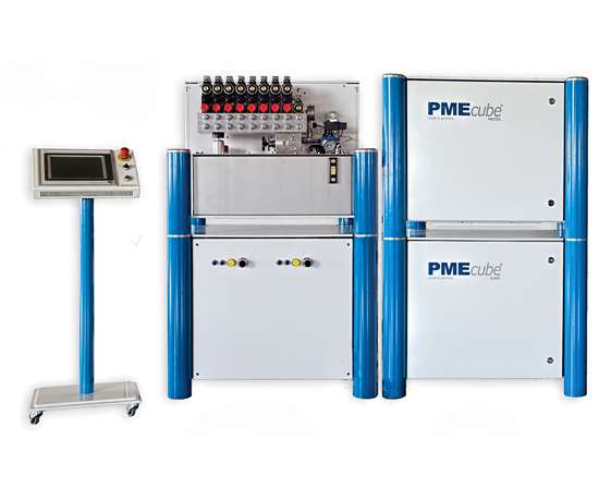 Modular design of PME cube system for WIT can include master and slave units for applications involving large parts or two cavities.