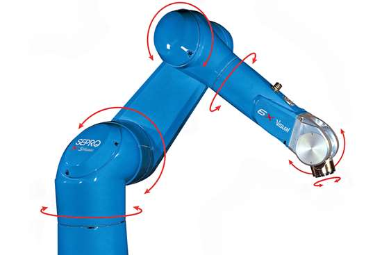 Six-axis articulated-arm robots get their name from the six distinct rotations that allow it to grip an object at almost any angle and at almost any point within its reach.