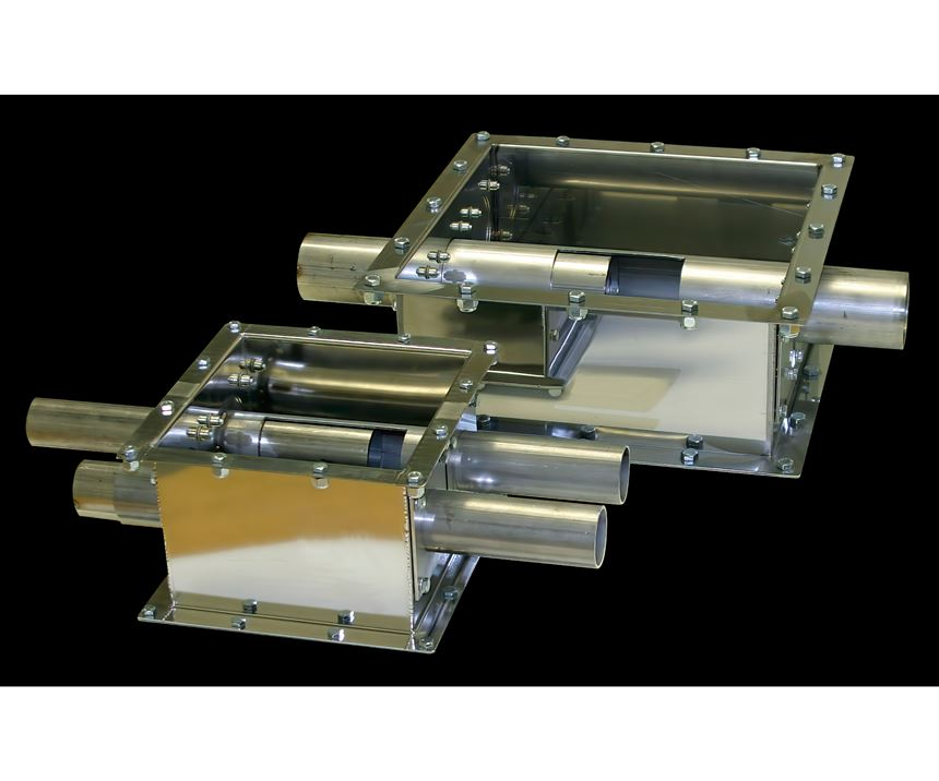 For long-distance conveying, it is typical to use a dual-tube take-off compartment, which draws material from the back of the box.