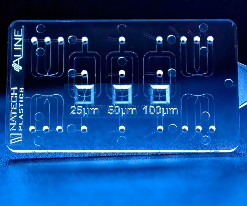 Medical parts, like this microfluidic diagnostic device with channels as small as 25 microns, are a growing majority of Natech's business, for which it is building a 5000 ft2 Class 8 clean room.