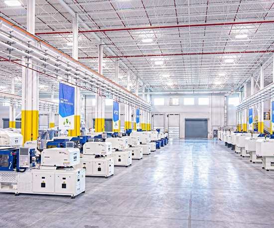 The new 116,000 ft2 operations center can house dozens of injection machines in stock for quick delivery.