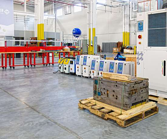The new plant's mold-test area is equipped with a various chillers and TCUs to duplicate a customer's plant conditions.