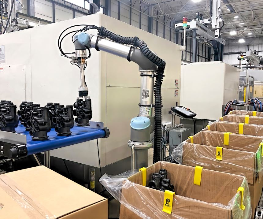 As shown here, cobots often don't need guarding to perform tasks like removing parts from a conveyor and packing them in boxes.