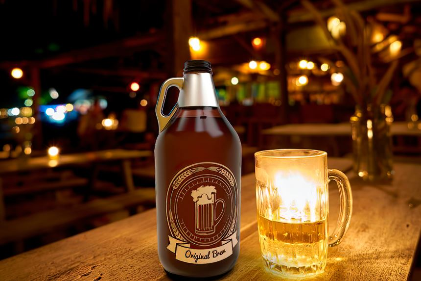 "Believed to be the first 64-oz barrier PET ""growler"" for craft beer."