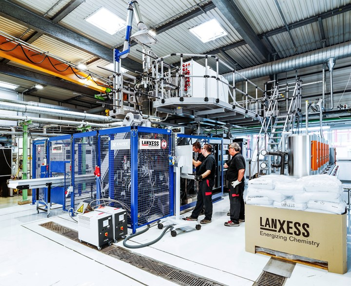 New Kautex suction blow molder has been added to Lanxess' blow molding tech center in Germany.