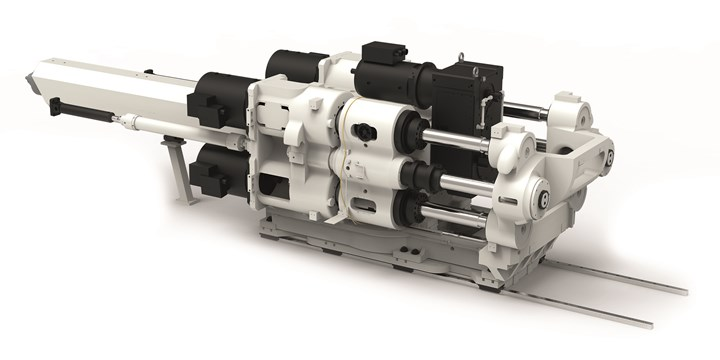 New, patented Haitian Zhafir concept for large electric injection units, with four spindles and four motors.