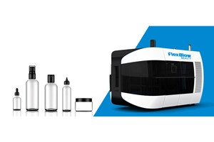 """FlexBlow's new Beauty series two-stage stretch-blow machines offer quick changeovers and """"zero-scratch"""" handling of preforms for cosmetic containers."""