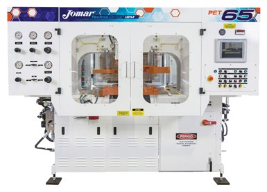 Jomar's new TechnoDrive 65 PET injection-blow machine is its first aimed specifically at non-stretched PET bottles, vials and jars.