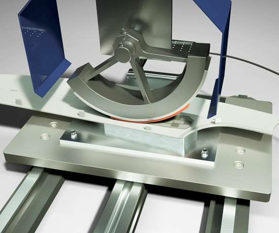 Half-round silicone applicator to be shown at K 2019 by Kurzin bonding an appliance touchscreen.