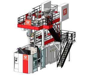 ST Blowmoulding's ECT 880 CoEx3 continuous-extrusion machine for drums.
