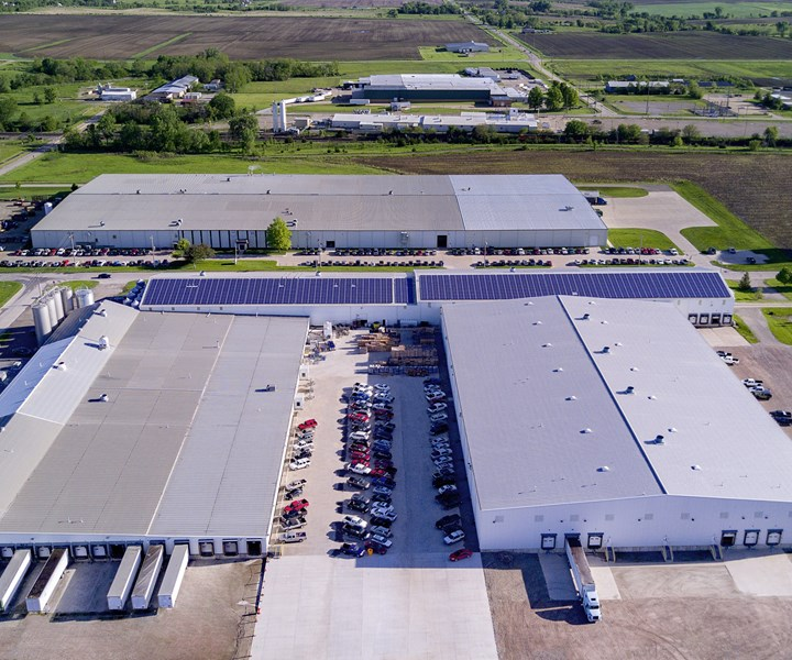 An array of 1345 solar panels at Agri-Industrial Plastics, plus lithium battery storage, will save 4-5% of overall energy use and cut peak load by 6%.