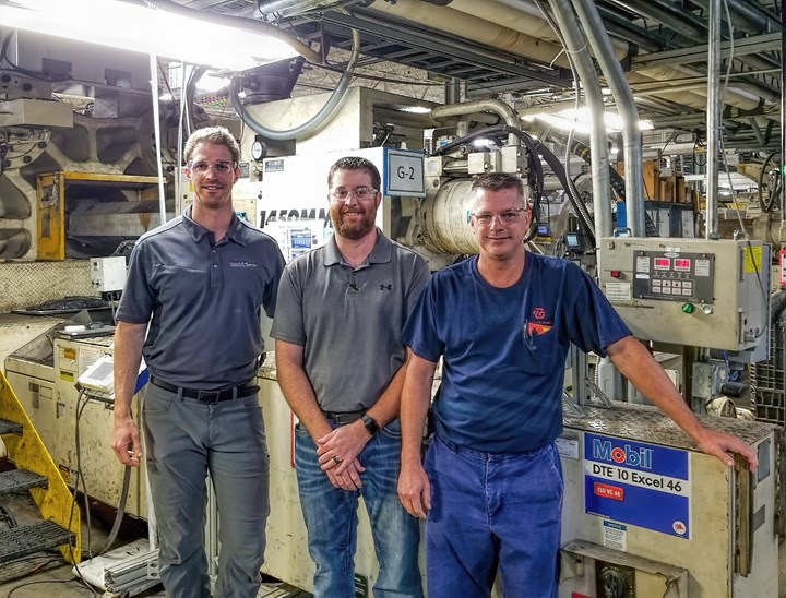 From left: Adam McMurtrey, Mobil Serv field engineer; Brandon Barton, territory sales manager for Morgan Distributing; Scott Abernathy, TG Missouri maintenance senior manager.