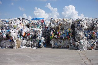 Variety of polyethylene packaging collected for recycling
