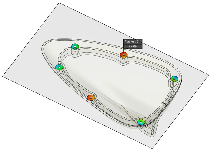 Moldex3D: Flatness prediction for individual assembly studs in automotive antenna cap.