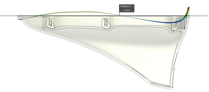 Moldex3D: Magnified deformation analysis of antenna cap.