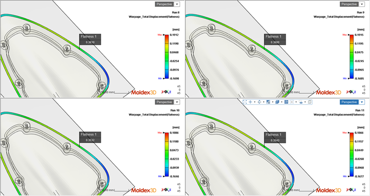 Moldex3D: Flatness comparison under different molding parameter settings.