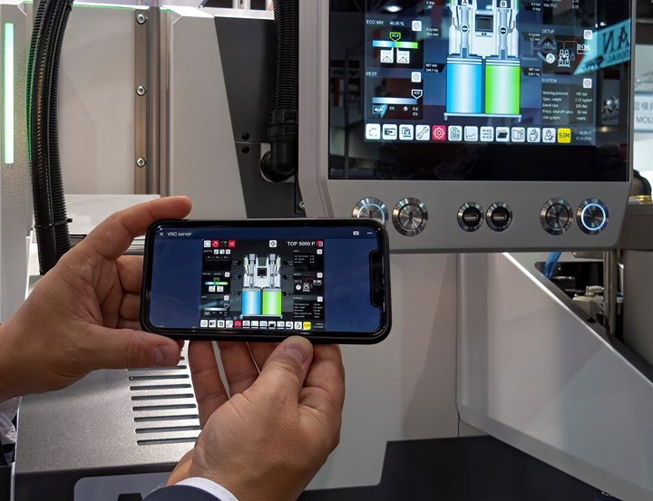 Elmet showed its new servo-driven TOP5000E LSR dosing system with web connectivity and remote monitoring/control via mobile devices.