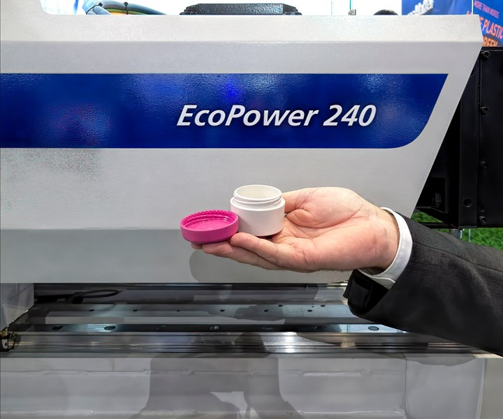 "Green"" was the theme of K 2019, and Wittmann Battenfeld showed an all-electric machine specially modified to process the new Zeroplast 100% biobased, non-plastic material"