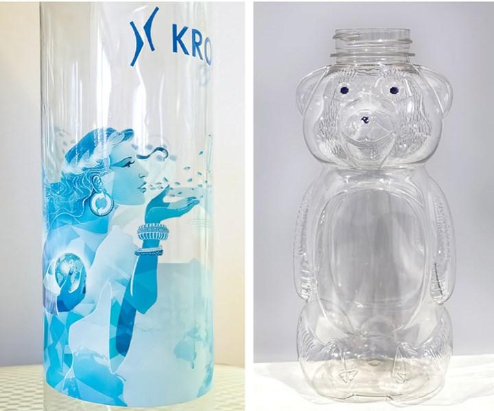 Digital inkjet printing directly on PET bottles: Krones (left), 1Blow (right).