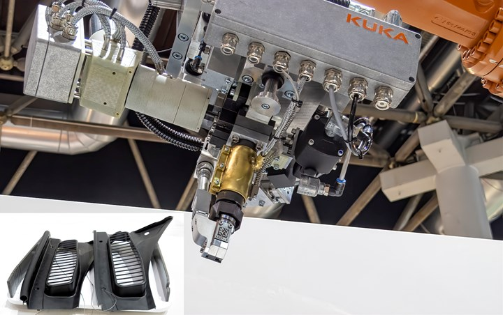 Kuka introduced a new extrusion head for its six-axis robots, which can deposit gaskets directly onto molded parts (inset, left).