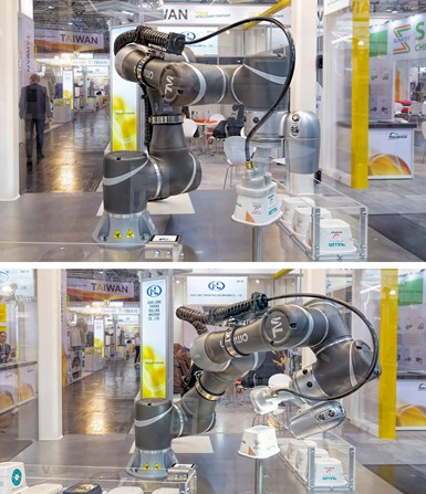 Muller Technology Colorado (formerly CBW Automation) is working with Omron's cobots to develop a system that can pick and place IML packaging (top) and inspect it with an integral camera (bottom).